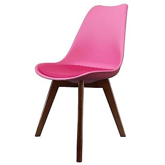 Fusion Living Eiffel Inspiré Bright Pink Plastic Dining Chair With Squared Dark Wood Legs