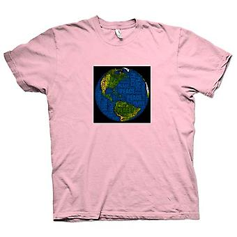Womens T-shirt - Earth Peace Map