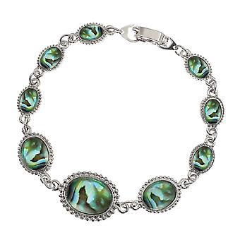 Eeuwige collectie getijde natuurlijke Paua Shell Toon Cabochon Zilveren armband