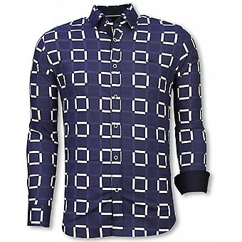 E Shirts - Slim Fit - Block Pattern - Blue
