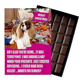 Cavaliar King Charles Spaniel Funny Christmas Gift For Dog Lover Chocolate Greeting Xmas Present