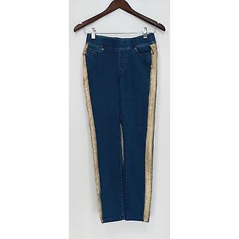 Martha Stewart Femme apos;s Petite Jeans Knit Denim Metallic Skinny Blue A345123