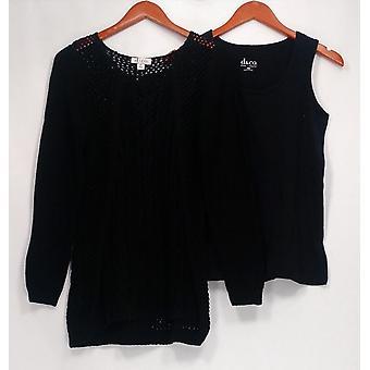 Denim & Co. Frauen's Pullover Neuheit Kabel schwarz A260612