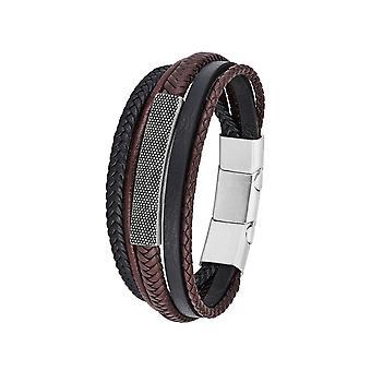 s. Oliver Jewel mænds armbånd rustfrit stål læder identifikation armbånd 2026110