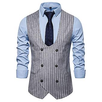 Allthemen Men's Stripe U-Neck Business Casual Four Seasons Suit Vest 3 Colori