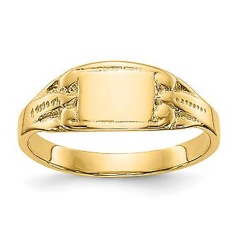 14k Yellow Gold Solid Polished Engravable Rectangular Baby Signet Ring Size 3.25 - 1.3 Grams