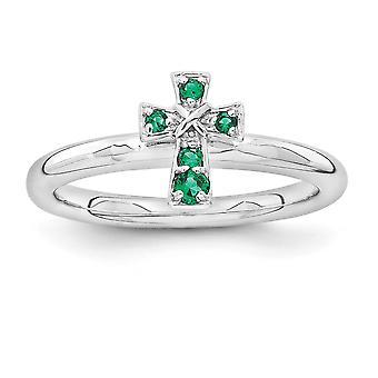 2,25 mm 925 sterling zilver rhodium-plated stapelbare expressies Rhodium gemaakt Emerald cross ring-ring grootte: 5 tot en met 10