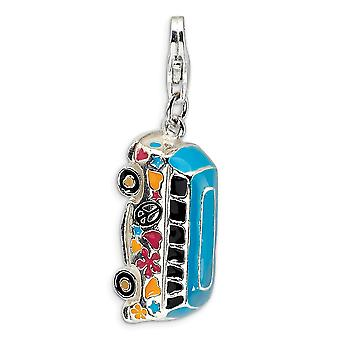 925 Sterling Silver Rhodium plated Fancy Lobster Closure 3 D Enameled Hippie Bus With Lobster Clasp Charm Pendant Neckla