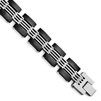 Stainless Steel Brushed and Polished Black Ip-plated Bracelet - 8 Inch