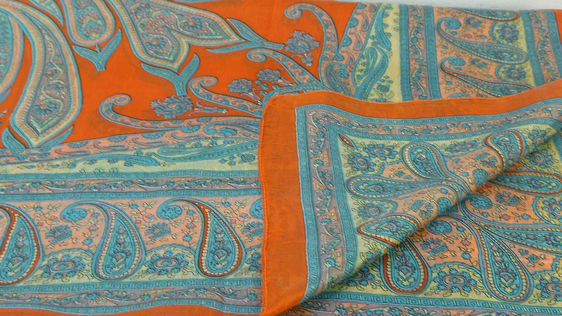 Mulberry Silk Traditional Square Scarf Yana Terracotta by Pashmina & Silk