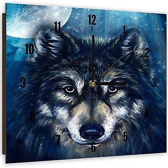 Decorative Clock With Picture, Wolf 3