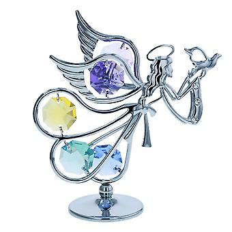 CRYSTOCRAFT Freestanding Flying Angel made with Swarovski Crystals