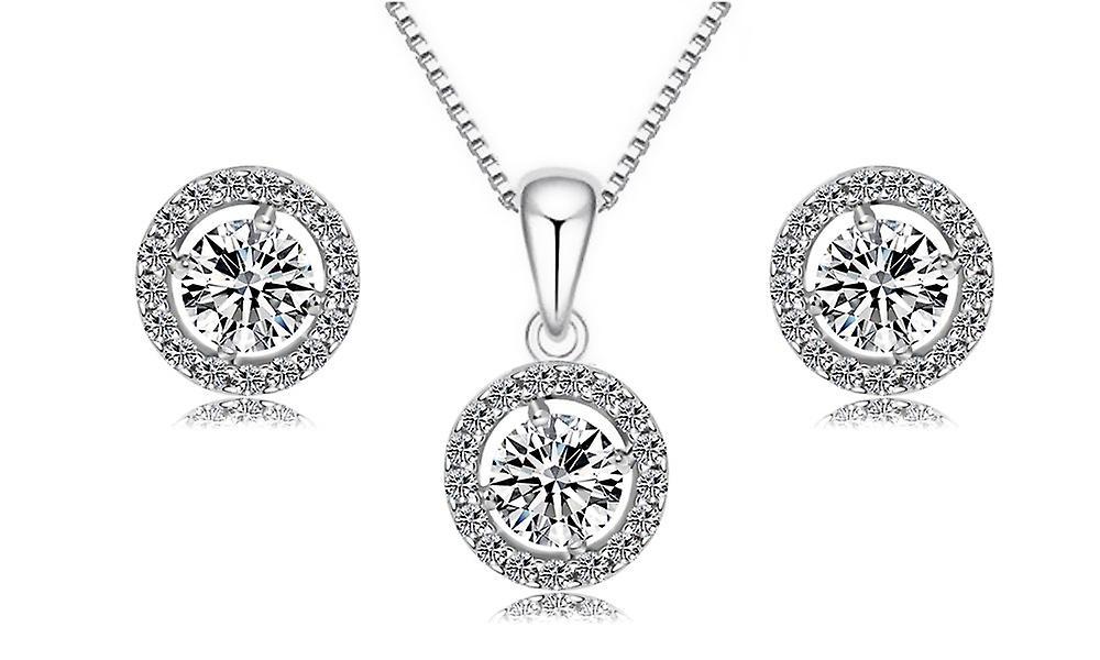Aaa Zircon Silver Pleated Evening Elegant Jewellery Set