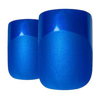 Falsche Nägel von Bling Kunst blauen Matte französische Maniküre gefälschte mittlere Tipps mit Kleber