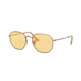 Ray-Ban Hexagonal RB3548N 91310Z Copper/Evolve Light Yellow Sunglasses