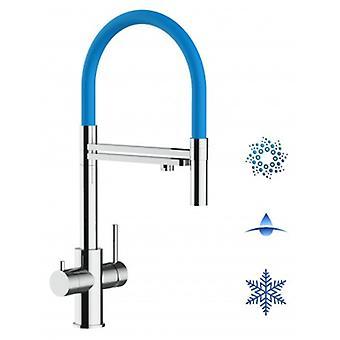 5-vejs Inox filter Tap lyseblå tud og 2 jets spray, ideel til mousserende, almindeligt og afkølet vandsystemer-poleret-442