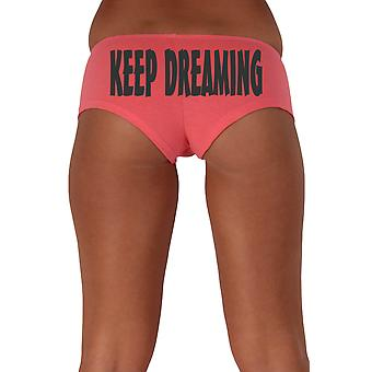 Women's Funny Booty Shorts Keep Dreaming Slanted Black Bold Style Type