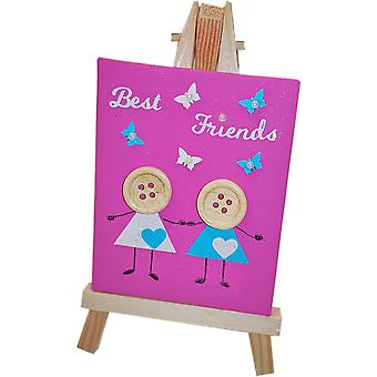 Best Friends Canvas & Stand Bright Pink by Wee Bee Gifts