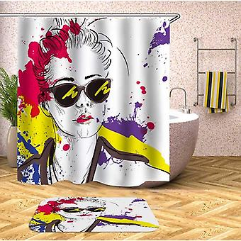 Urban Lady Drawing Multi Colored Splashes Shower Curtain