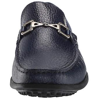 MARC JOSEPH NEW YORK Mens Grainy Leather Carneige Hill Buckle Loafer, Navy, 9...