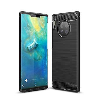 Huawei Mate 30 Pro TPU Case Carbon Fiber Optik Brushed Schutz Hülle Schwarz