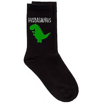 Mens Husband Dinosaur Husbasaurus Black Calf Socks
