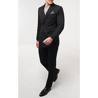 Dobell Mens Black 2 Piece Suit Regular Fit Double Breasted Peak Lapel