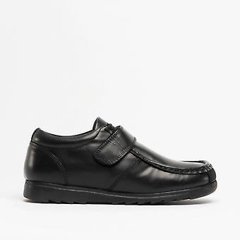 Roamers Generals Boys Leather Touch Fasten Shoes Black
