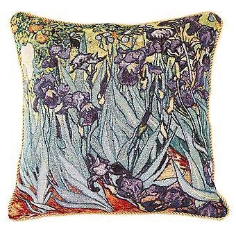 梵高虹膜垫盖 |花卉艺术枕套 18x18 英寸 |乔夫-阿特-万戈-2