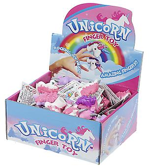 Unicorn finger puppets display 48 pieces, white/pink/purple, made of plastic.