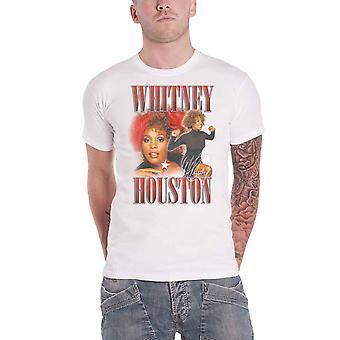 Whitney Houston T Shirt 90s Homage Portrait Logo new Official Mens White