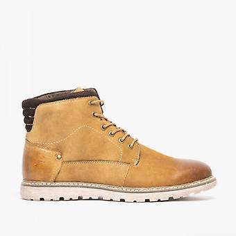Front Thread Mens Leather Lace Up Boots Tan