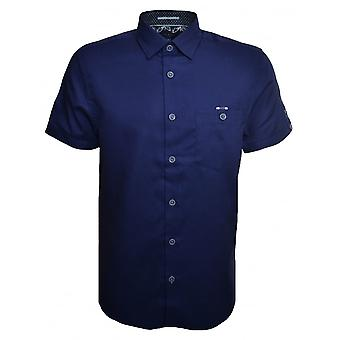 Ted Baker mannen donker blauwe Mowntay korte mouwen Shirt