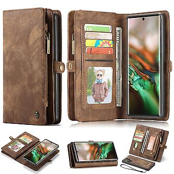 For Samsung Galaxy Note 10+ Plus Case, Wallet PU Leather Detachable Cover, Brown