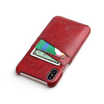 Für iPhone XS, X Fall, Deluxe hochwertige langlebige Schutzleder-Abdeckung, rot