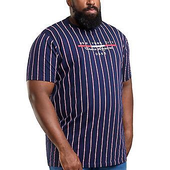 Duke D555 Mens Big Tall Davis Striped Short Sleeve Crew Neck T-Shirt Top - Navy