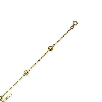 14Κ κίτρινο χρυσό ρυθμιζόμενο στιλβωμένο πρησμένο αγάπη καρδιές Piatto αλυσίδα αστράγαλο βραχιόλι 10 ιντσών κοσμήματα δώρα για τις γυναίκες