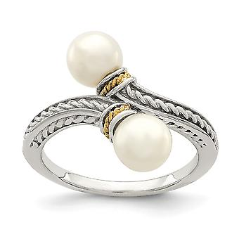 925 Sterling Silver With 14k Accent Two 6 7mm Freshwater Cultured Pearl Ring Jewelry Gifts for Women - Ring Size: 6 to 8