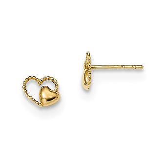 14k Madi K kiillotettu kaksinkertainen rakkaus sydän post korvakorut mitat 5.5x6.5mm Leveät korut Lahjat naisille