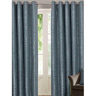 Belle Maison Lined Eyelet Curtains, Tuscany Range, 46x54 Duck Egg