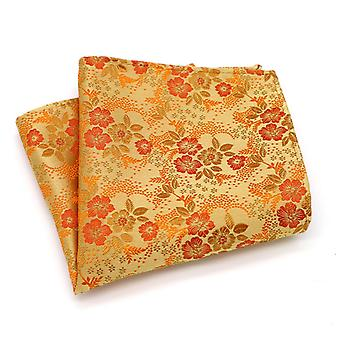 Orange & red autumn wedding men's floral pocket square