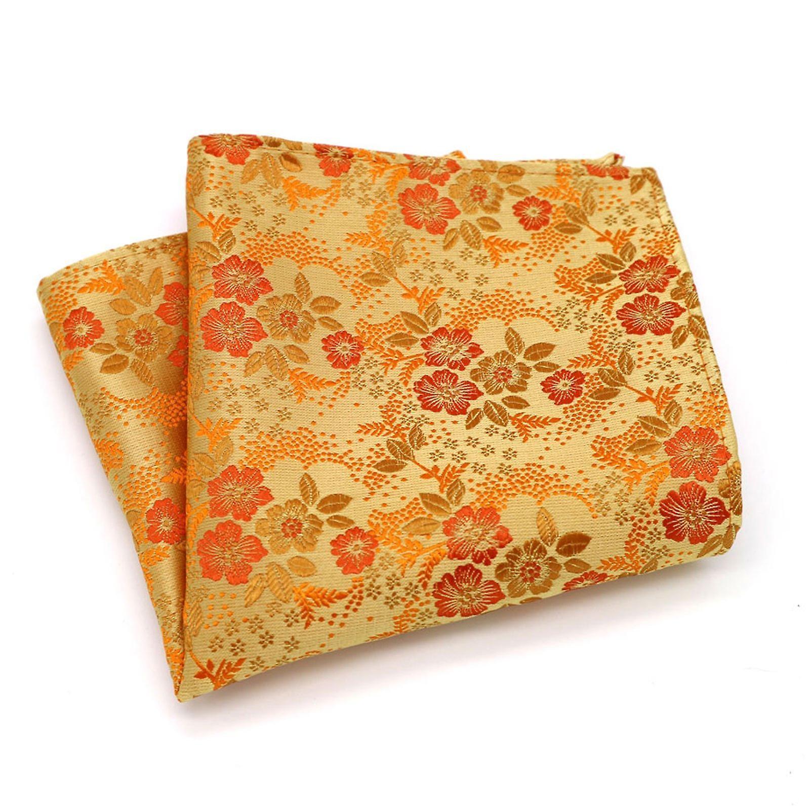 Orange & red autumn wedding men's floral pocket square