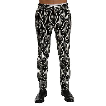 Dolce & Gabbana Black White Slim Fit Hemp Linen Pants