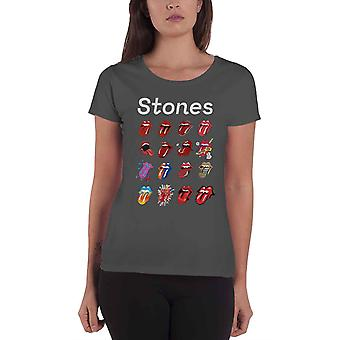 The Rolling Stones T Shirt Tongue Evolution Tour new Official Womens Charcoal