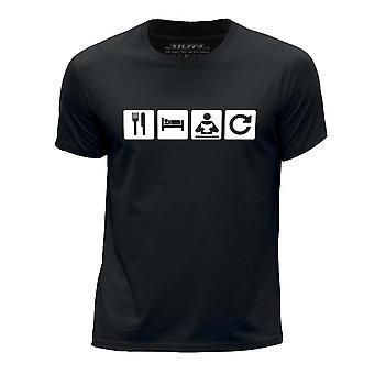 STUFF4 Boy's Round Neck T-Shirt/Eat Sleep Read Repeat//Reading/Black