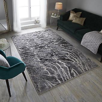Eris Lyra Modern Distressed Abstracte tapijten in zilver en grijs