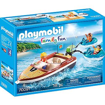 Playmobil 70091 Family Fun Speedboat with Tube Riders 18PC Playset