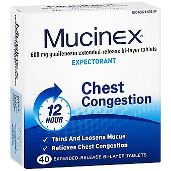 Mucinex expectorant, 600 mg, extended-release bi-layer, tablets, 40 ea