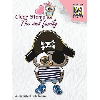 Nellie's Choice Clear stempel - De uil Familie piraat CSO011 65x50mm