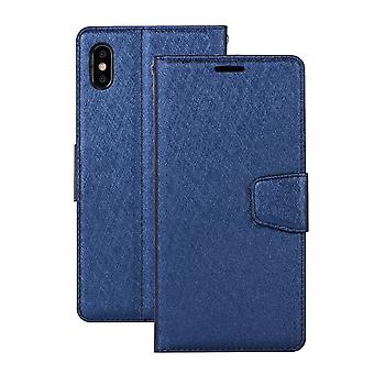 For iPhone XS Max Cover,Silk Textured Folio Leather Wallet Phone Case,Dark Blue